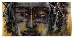 Hand Towel featuring the digital art Street Artist  by Sladjana Lazarevic