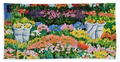 Street Flower Stand Hand Towel by Alexandra Maria Ethlyn Cheshire