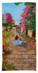 Street In Monemvasia Bath Towel