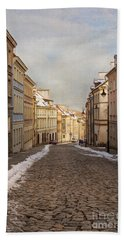Street In Warsaw, Poland Hand Towel