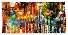 Street Of Illusions - Palette Knife Oil Painting On Canvas By Leonid Afremov Hand Towel