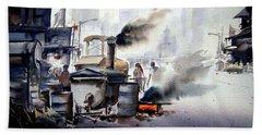 Street Repairing  Bath Towel by Samiran Sarkar