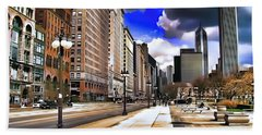 Bath Towel featuring the digital art Streets Of Chicago by Kathy Tarochione