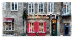 Streets Of Old Quebec City Upper Town Storefront Watercolor Hand Towel
