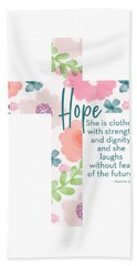 Strength And Dignity Cross- Art By Linda Woods Bath Towel