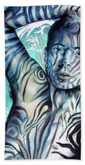 Hand Towel featuring the painting Strength In Blue Stripes, Zebra Boy #6 by Rene Capone