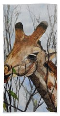 Hand Towel featuring the painting Stretch by Betty-Anne McDonald