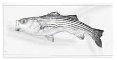 Hand Towel featuring the digital art Striped Bass by A Gurmankin