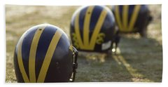 Striped Helmets On A Yard Line Hand Towel
