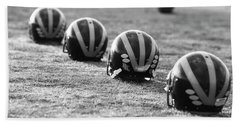 Striped Helmets On The Field Hand Towel
