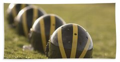 Striped Helmets On Yard Line Hand Towel