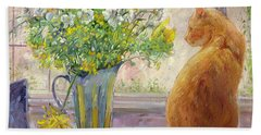 Striped Jug With Spring Flowers Hand Towel by Timothy Easton