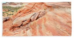 Hand Towel featuring the photograph Striped Sandstone Along Park Road In Valley Of Fire by Ray Mathis