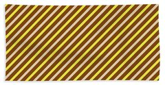 Stripes Diagonal Chocolate Banana Yellow Toffee Cream Bath Towel