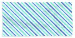 Stripes Diagonal Turquoise Blue Summer Simple Modern Hand Towel