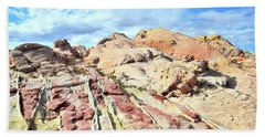 Stripes Of Valley Of Fire Hand Towel by Ray Mathis