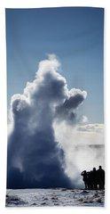 Bath Towel featuring the photograph Strokkur Geyser In Iceland by Matthias Hauser