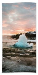Strokkur Winter Blowup In Front Of Sunset Hand Towel