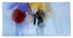 Strolling In The Rain Hand Towel by Vicki  Housel