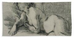 Study Of A Reclining Female Nude Bath Towel
