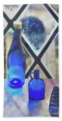 Study Of Light On Cobalt Bottles Bath Towel by Janette Boyd