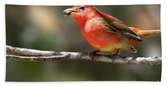 Stuffed Summer Tanager Bath Towel