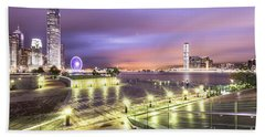 Stunning Night View Of The Famous Hong Kong Island Skyline And V Bath Towel