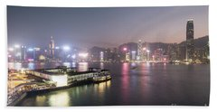 Stunning View Of The Twilight Over The Victoria Harbor And Star  Hand Towel