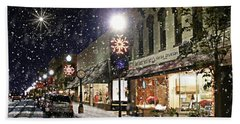 Sturgeon Bay On A Magical Night Hand Towel by Albert For Door County Social