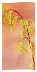 Stylized Baby Chestnut Leaves Hand Towel