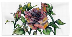 Stylized Roses Bath Towel