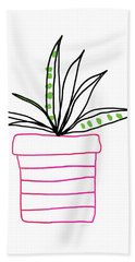 Hand Towel featuring the mixed media Succulent In A Pink Pot- Art By Linda Woods by Linda Woods