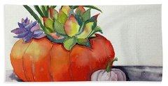 Succulents In Pumpkin Hand Towel