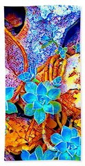 Succulents On River Rock Bath Towel