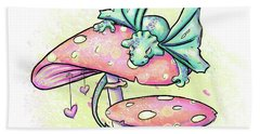 Hand Towel featuring the digital art Sugar Puff The Dragon by Lizzy Love