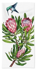 Sugarbush And The Humming Bird Hand Towel by Heidi Kriel