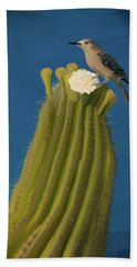 Sugaro Cactus And Cactus Wren Bath Towel by Wally Hampton