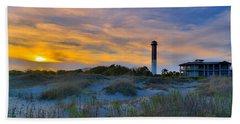 Sullivan's Island Lighthouse At Dusk - Sullivan's Island Sc Hand Towel