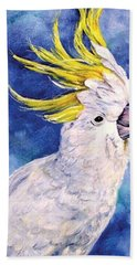 Hand Towel featuring the painting Sulphur-crested Cockatoo by Ryn Shell