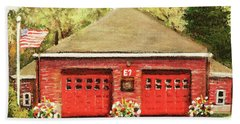 Hand Towel featuring the painting Summer At E7 Fire Station by Rita Brown