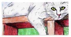Summer Cat Bath Towel by P J Lewis