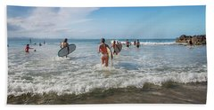 Hand Towel featuring the photograph Summer Days Byron Waves by Az Jackson