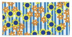 Summer Floral Stripes Blue Yellow Orange Flowers Hand Towel