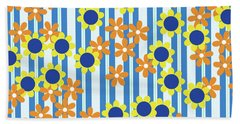Summer Floral Stripes Blue Yellow Orange Flowers Bath Towel