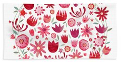 Summer Flower Circle Hand Towel by Nic Squirrell