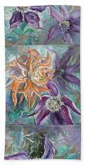 Hand Towel featuring the painting Summer Flowers Tall by Ryn Shell