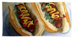 Summer Hot Dogs Hand Towel