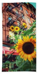 Summer In The City - Sunflowers Bath Towel