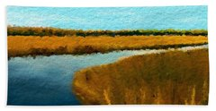 Hand Towel featuring the digital art Summer Marsh South Carolina Lowcountry by Anthony Fishburne
