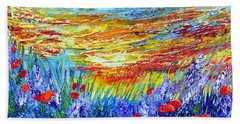 Hand Towel featuring the painting Summer Meadow by Teresa Wegrzyn